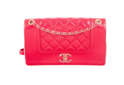 CHANEL CC QUILTED RED LEATHER SHOULDER BAG