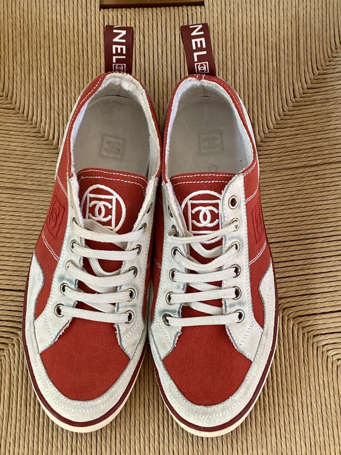 CHANEL CC LOGO RED SNEAKERS WITH WEBBING 38.5 / 7.5