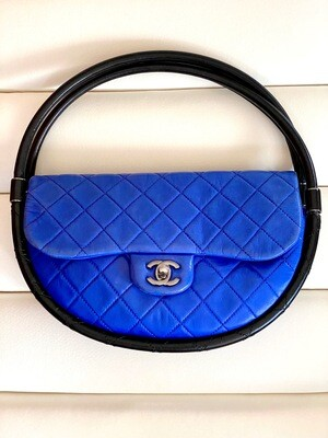 CHANEL CC FLAP HOOLA HOOP BAG IN COBALT BLUE & BLACK
