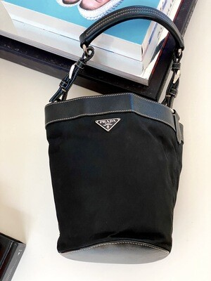 VINTAGE PRADA MILANO BLACK NYLON LEATHER MINI BUCKET BAG
