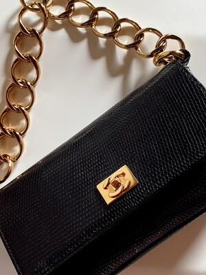 VINTAGE CHANEL BLACK LIZARD MINI FLAP BAG