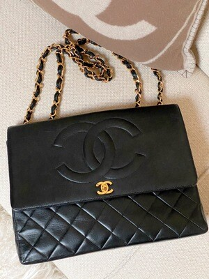 VINTAGE CHANEL CC JUMBO FLAP DOUBLE CHAIN BLACK LEATHER MAXI BAG