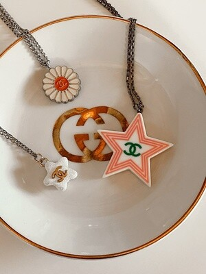 VINTAGE CHANEL CC STAR PENDANT NECKLACE