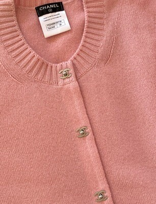 CHANEL CC TURNLOCK CASHMERE CARDIGAN SWEATER PINK 38
