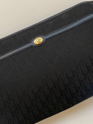 VINTAGE CHRISTIAN DIOR MONOGRAM LOGO LARGE NAVY CLUTCH BAG WITH METAL PLATE