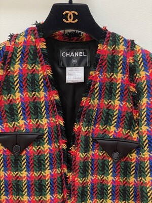 VINTAGE CHANEL HOUNDSTOOTH BRIGHT COLORS JACKET FR 36 / US 4