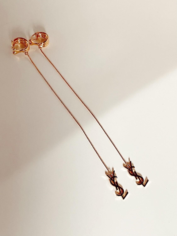 VINTAGE YVES SAINT LAURENT X-LONG DANGLE YSL LOGO GOLD EARRINGS CLIP ON DESIGN