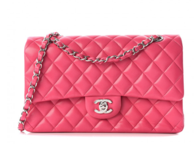 CHANEL MEDIUM PINK DOUBLE FLAP QUILTED LEATHER DOUBLE CHAIN SHOULDER BAG