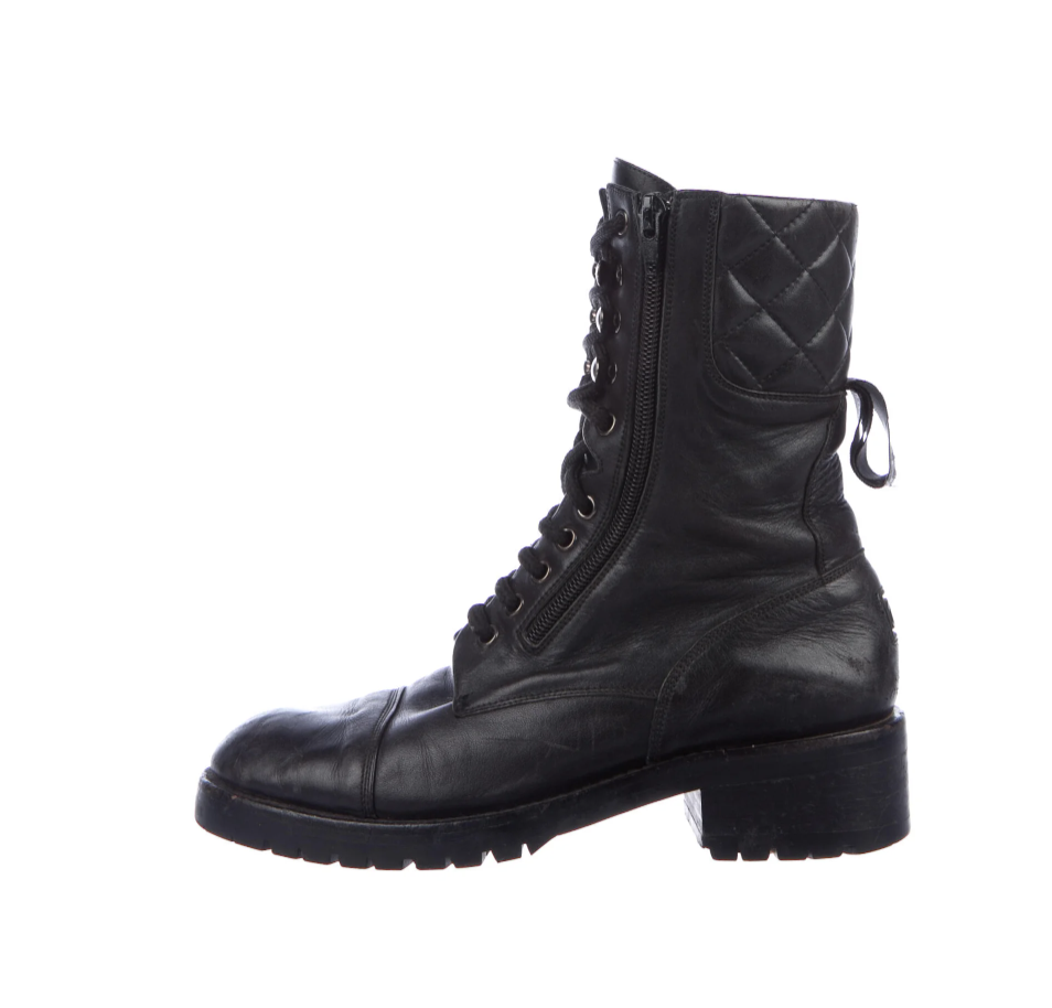 CHANEL LOGO WEBBING BLACK LEATHER LACE UP COMBAT BOOTS IT 37 / 6.5 - 7