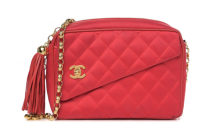 CHANEL VINTAGE CC TURNLOCK RED QUILTED SATIN GOLD CHAIN SHOULDER / CROSSBODY CAMERA BAG WITH TASSEL