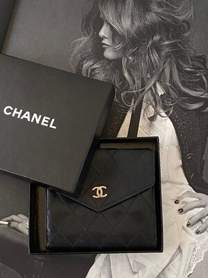 CHANEL CC LOGOS VINTAGE BLACK QUILTED LEATHER DOUBLE FLAP WALLET