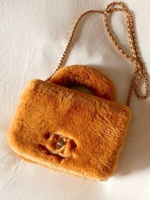 CHANEL CC ORANGE RABBIT FUR TOP HANDLE FLAP BAG WITH CROSSBODY CHAIN