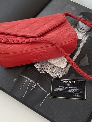 VINTAGE CHANEL CC QUILTED RED LEATHER BRAIDED STRAP SHOULDER BAG