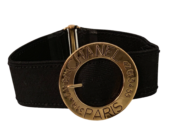 CHANEL PARIS RUE CAMBON LOGO GOLD BUCKLE CHOKER NECKLACE - VINTAGE RUNWAY PIECE
