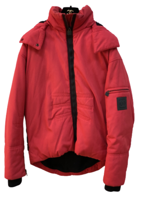 CHANEL CC LOGO RED QUILTED PUFFER WINTER COAT PARKA JACKET FR 40