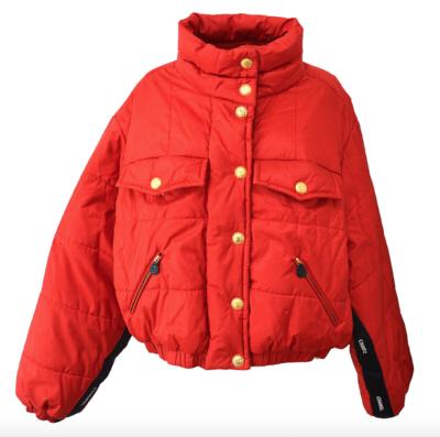 CHANEL CC LOGO RED QUILTED SILK LOGO RIBBON PUFFER SKI WINTER COAT / FR 44