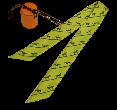VINTAGE HERMES PARIS Monogram Logo Horse Duc Carriage Print Silk Scarf Wrap Hair Tie Twilly - Green with Box!