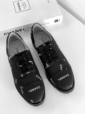 Vintage CHANEL Letters Logo Cap Toe Black White Sneakers Oxford Lace Ups Loafers Boots eu 38 us 7 - 7.5 - MINT
