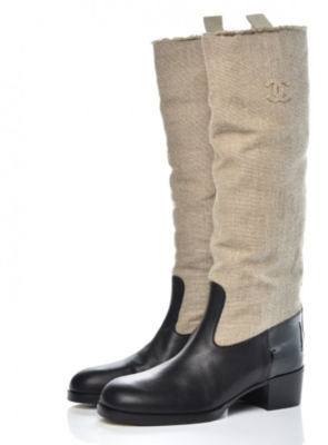 CHANEL CC LOGO TALL OTK RIDING BOOTS LINEN LEATHER IT 39.5 - US 8.5 - 9