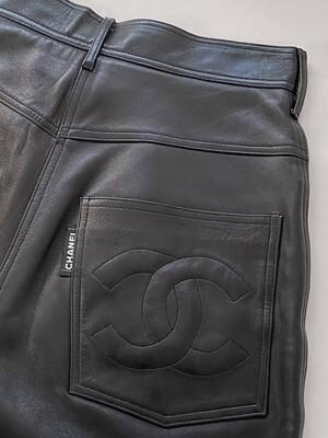 "CHANEL CC LOGO BLACK LEATHER PANTS - VINTAGE SIZE 28 / WAIST 27"""