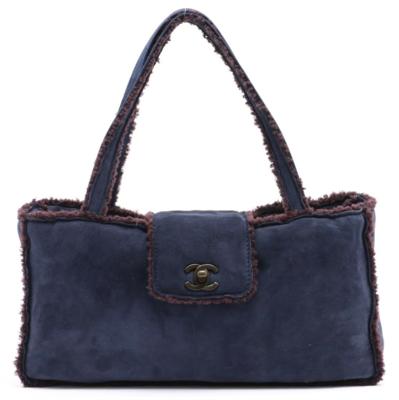 CHANEL CC TURNLOCK LOGO NAVY BLUE SUEDE / BROWN SHEARLING TOP HANDLE BAG