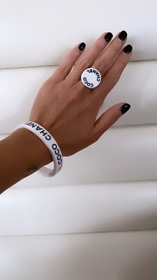 CHANEL COCO LETTER LOGO WHITE BLACK RESIN BANGLE BRACELET - VINTAGE