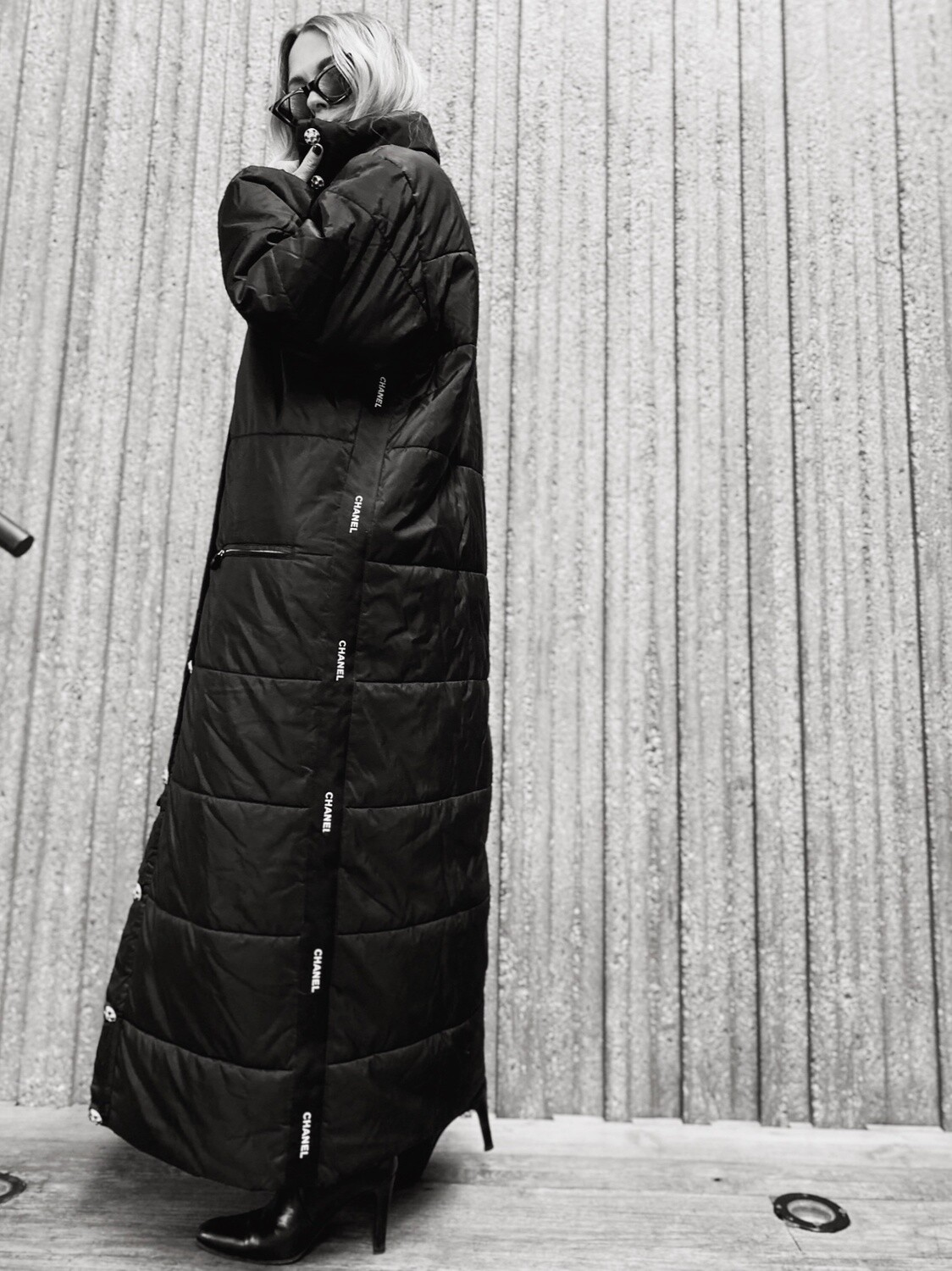 CHANEL LETTER MONOGRAM RIBBON VINTAGE BLACK PUFFER COAT WITH GRIPOIX JEWELED BUTTONS - 1995 COLLECTION
