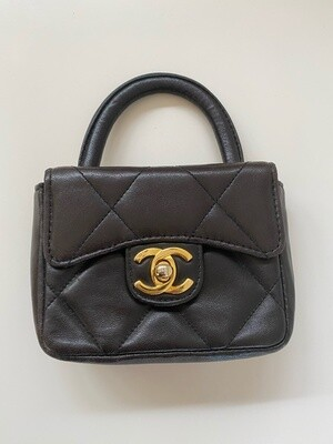 CHANEL CC LOGO TURN LOCK MICRO MINI KELLY TOP HANDLE BROWN QUILTED LEATHER BAG - VINTAGE