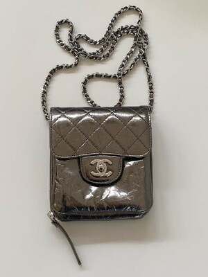 CHANEL CC TURNLOCK WOC WALLET ON A CHAIN METALLIC LEATHER CROSSBODY BAG