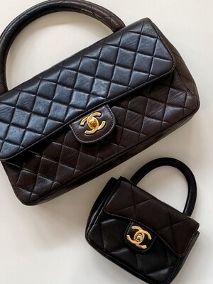 CHANEL CC TURN-LOCK TOP HANDLE KELLY FLAP BAG BROWN QUILTED LEATHER - VINTAGE