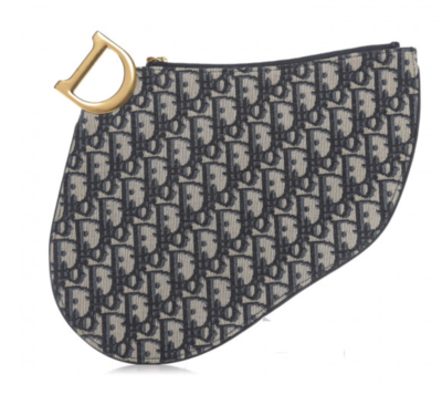CHRISTIAN DIOR OBLIQUE D RING CLUTCH BAG IN NAVY / BEIGE