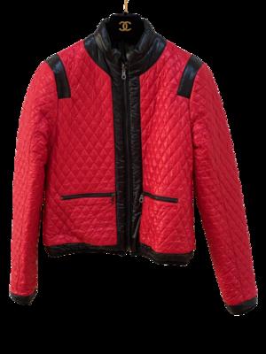 CHANEL CC LOGO REVERSIBLE PUFFER SKI SNOW WINTER COAT RED / BLACK FR 36 / US 4