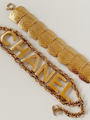 Vintage 90's CHANEL LOGO LETTERS Gold Plated Charm Bracelet Bangle Cuff Jewelry