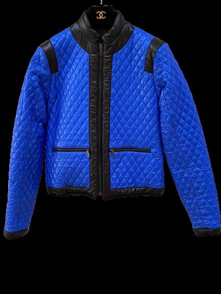 CHANEL CC LOGO REVERSIBLE PUFFER SKI SNOW WINTER COAT BLUE / BLACK FR 36 / US 4