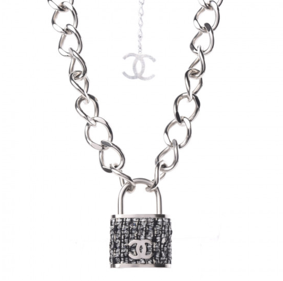 CHANEL CC LOGO TWEED PADLOCK LOCK THICK CHAIN NECKLACE SILVER FINISH