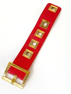 Vintage 80's CHANEL Letters CC Logo Monogram Iconic Large Red Leather Gold Buckle Belt Bracelet Bangle Cuff - Super RARE !!