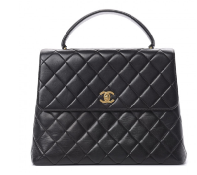 CHANEL CC TURNLOCK BLACK QUILTED LAMBSKIN LEATHER KELLY TOP HANDLE BAG - VINTAGE