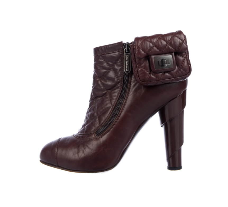 Vintage CHANEL Burgundy Quilted Leather Boots Booties with Mini 2.55 Reissue Bag Sz 38 us 7.5 - 8