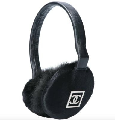 VINTAGE CHANEL CC LOGO MONOGRAM BLACK FUR AND LEATHER EARMUFFS EAR WARMERS