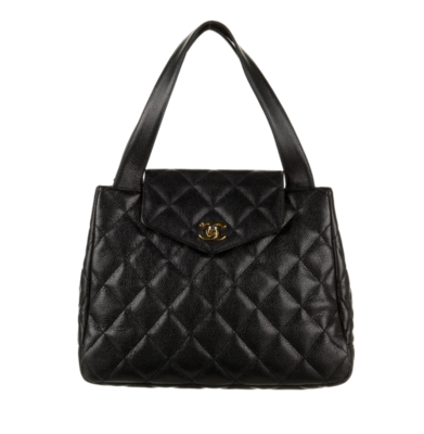 CHANEL CC LOGO BLACK CAVIAR LEATHER QUILTED KELLY FLAP TOTE WITH TURNLOCK DETAIL - VINTAGE