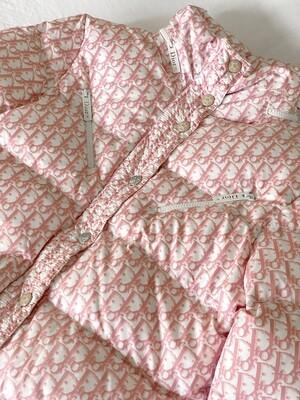 VINTAGE CHRISTIAN DIOR PINK MONOGRAM TROTTER LOGO OBLIQUE PUFFER DOWN COAT JACKET FR 42 / US 10