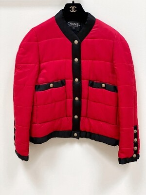 CHANEL CC LOGO VINTAGE RED QUILTED SILK PUFFER JACKET COAT