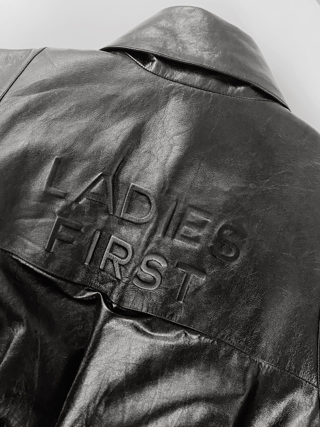 CHANEL LADIES FIRST BLACK LEATHER BOMBER JACKET FR 40