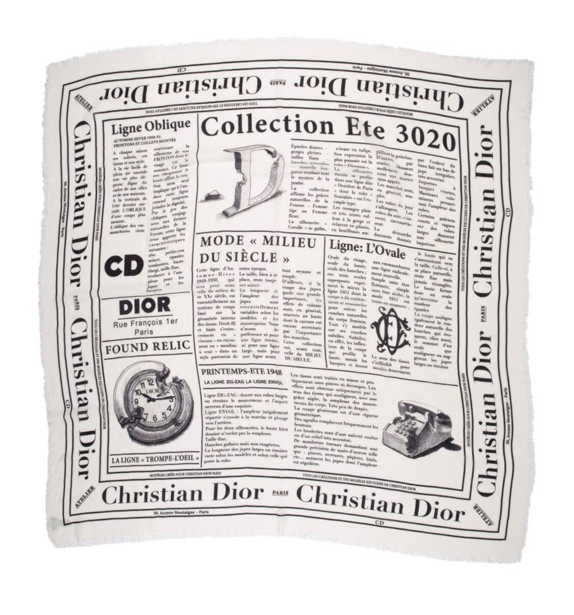 CHRISTIAN DIOR NEWSPRINT NEWS PAPER PRINT WOOL SCARF
