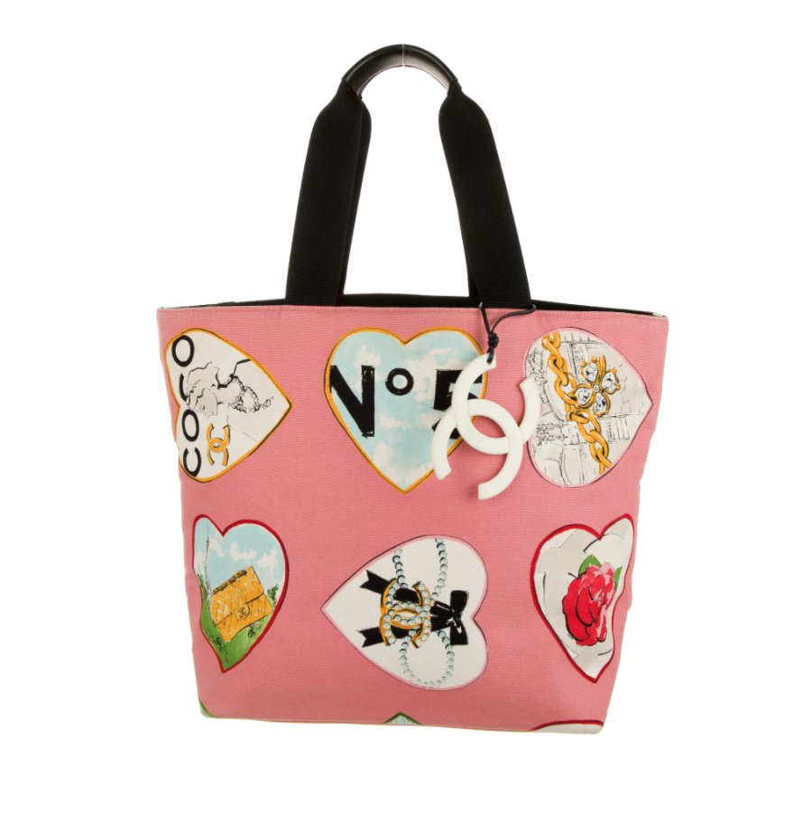 CHANEL CC COCO HEARTS VALENTINES CANVAS TOTE BAG WITH HUGE CC CHARM