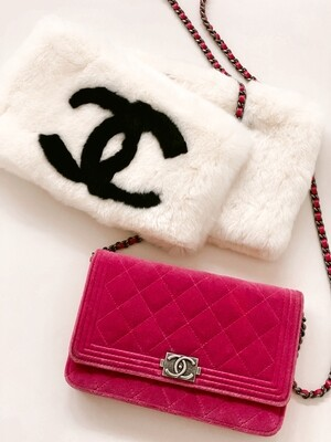 CHANEL CC LOGO BOY WOC WALLET ON CHAIN QUILTED VELVET FLAP CROSSBODY BAG
