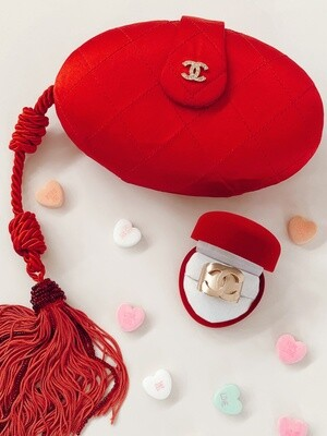 CHANEL VINTAGE CC RED QUILTED SILK EVENING BAG CLUTCH MINAUDIERE WITH TASSEL & AUTH CARD