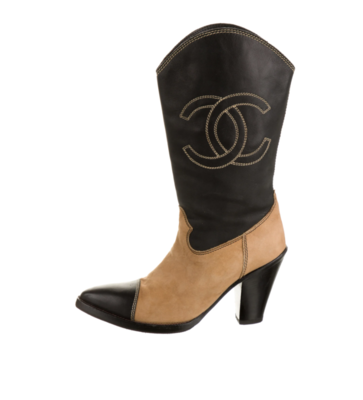 VINTAGE CHANEL CC EMBROIDERED LOGO COWGIRL WESTERN HEELED BOOTS - IT 36.5 / US 6 - 6.5