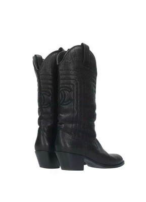 CHANEL CC BLACK LEATHER WESTERN COWGIRL BOOTS - IT 38 / US 7 - 7.5