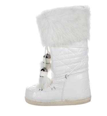CHRISTIAN DIOR MONOGRAM LOGO White Fur Winter Ski Snow Insulated Waterproof Apres Ski Boots Moon Boots w Tassels us 8 - 9 / It 38-40